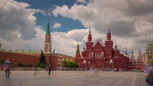 sommar dag moskva city röda torget panorama 4 k tid förfaller ryssland - moskva bildbanksvideor och videomaterial från bakom kulisserna