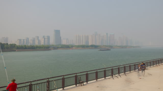 summer day time changsha city center river traffic bay fisherman timelapse panorama 4k china