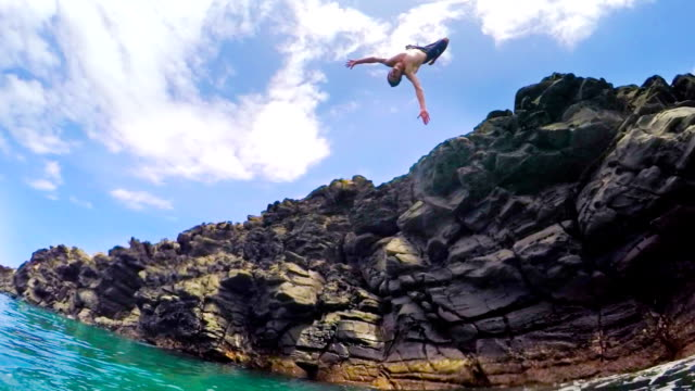 Summer Extreme Sports Cliff Jumping Outdoor Lifestyle (Slow Motion) video