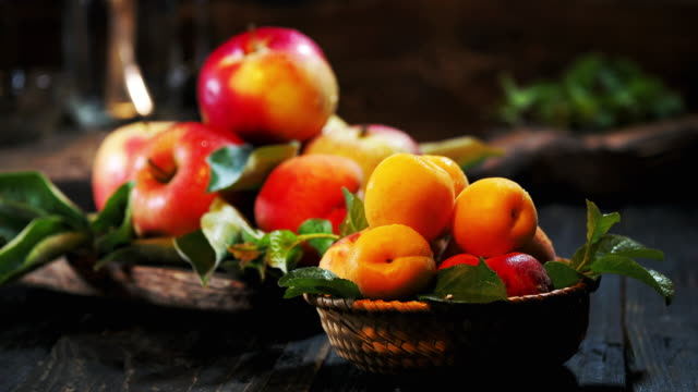Summer fruit on the wooden table