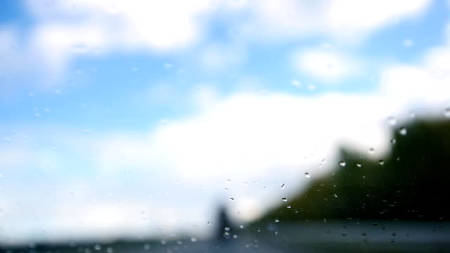 Summer highway on a rainy day - defocused background. Waterdrops in the windshield video