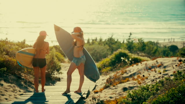 Summer is here: surfer girls at sea video