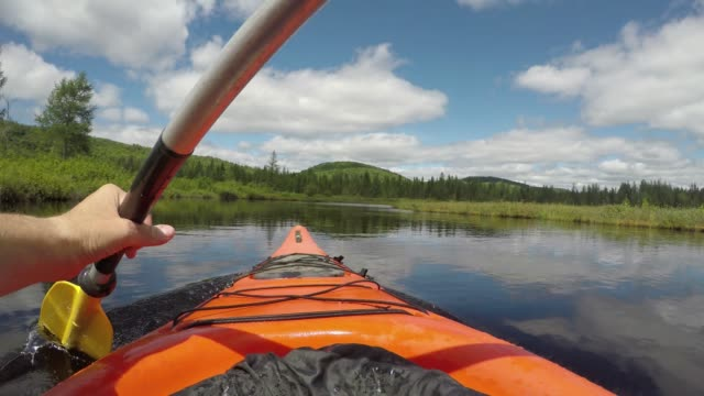 summer kayak river nature pov peaceful - ekoturystyka filmów i materiałów b-roll