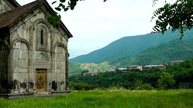 Summer landscape in ancient armenian monastery Akhtala video