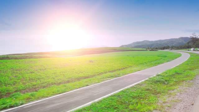 Summer landscape with empty rural road and green grass and blue sky.