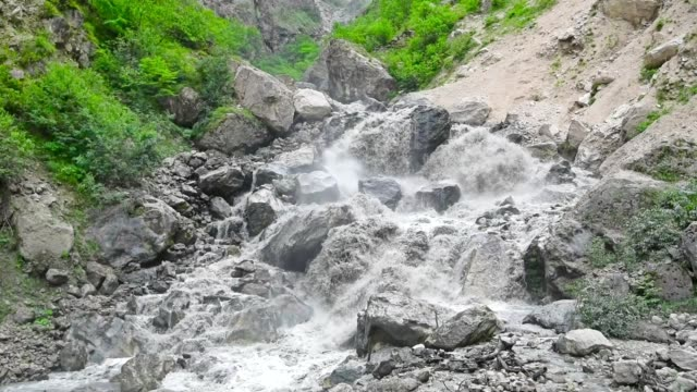 Summer landscape with mountain wild stream video