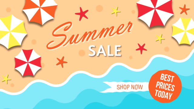 Summer sale with umbrellas and the sea video