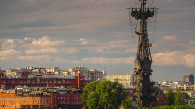 summer sunset moscow famous peter monument top aerial riverside panorama 4k timelapse russia