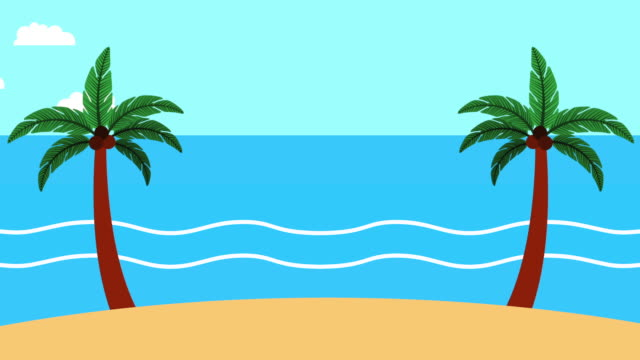 summer time sea scene - clip art video stock e b–roll