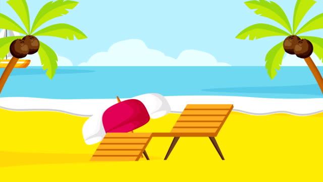 vídeos de stock, filmes e b-roll de férias de verão, fullhd animação de vídeo - clip art
