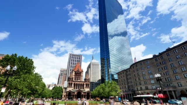 Summer Timelaspe View of Copley Square in Boston video