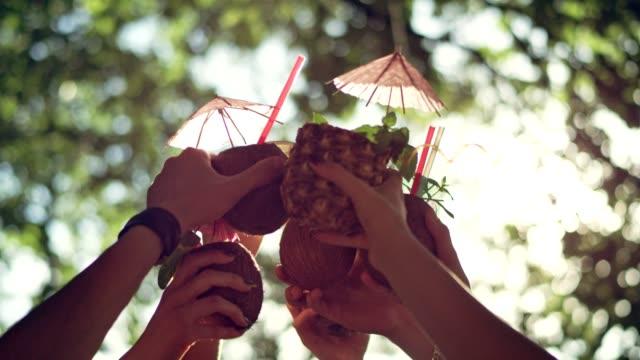 sommer-toast auf der party - tropischer cocktail stock-videos und b-roll-filmmaterial