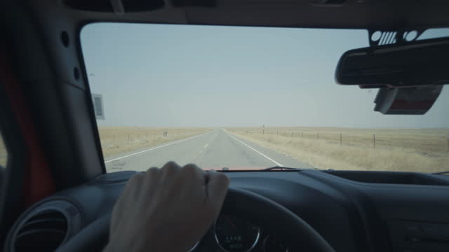 Summer vacations in USA: POV driving roads of wild Southwest
