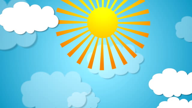 Summer video animation with sun and clouds Summer motion design with sun and clouds. Video animation HD 1920x1080 summer background stock videos & royalty-free footage