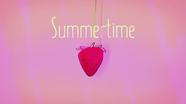 Summertime text with Growth strawberry Animation 80s 90s retro style. Sunset summer, Elegant and luxury dynamic.