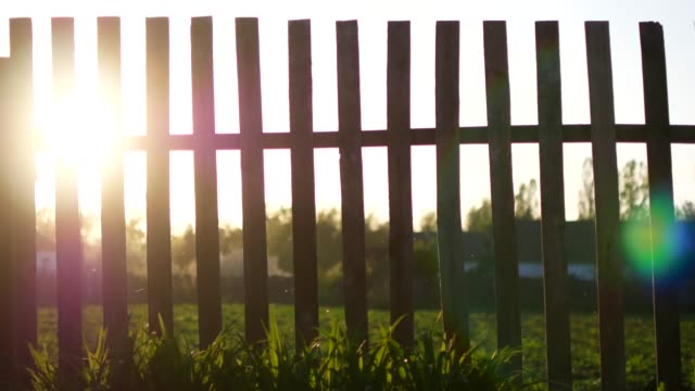 vídeos de stock e filmes b-roll de sun beams flare at sunrise just over wooden fence - cercado
