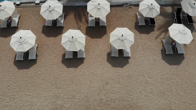 sonnenliegen am strand. luftaufnahme vieler gepaarter liegestühle mit sonnenschirm am einsamen strand mit sauberem sand. - sonnenschirm stock-videos und b-roll-filmmaterial