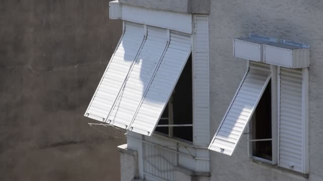 Sun blinds on the windows. Protection from the sun and light.