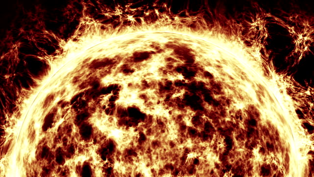 sun burning with solar flares animation - flare video stock e b–roll