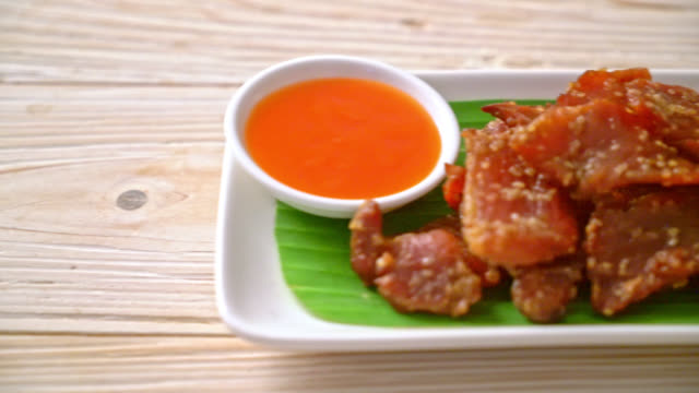 sun dried pork with sauce sun dried pork with sauce jerky stock videos & royalty-free footage