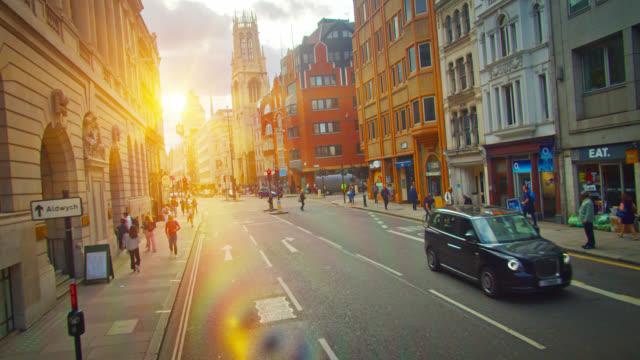 Sun Flare. Creative View of a London City Modern Street.