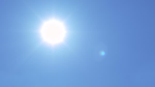 Sun Flare On Blue Sky Panning Shot