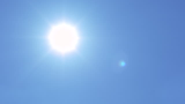 Sun Flare On Blue Sky Panning Shot Video of sun flare on blue sky panning shot. 4K midday stock videos & royalty-free footage