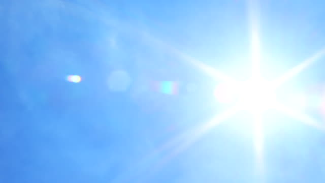 Sun Flare On Blue Sky Panning Shot Video of sun on blue sky with sun flare panning shot. 4K summer background stock videos & royalty-free footage