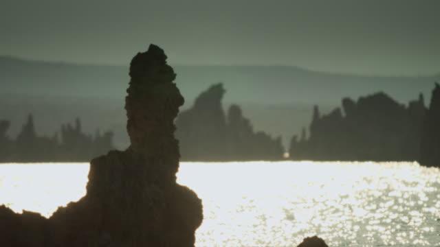 Sun Glittering on Mono Lake Behind Tufa Tower video