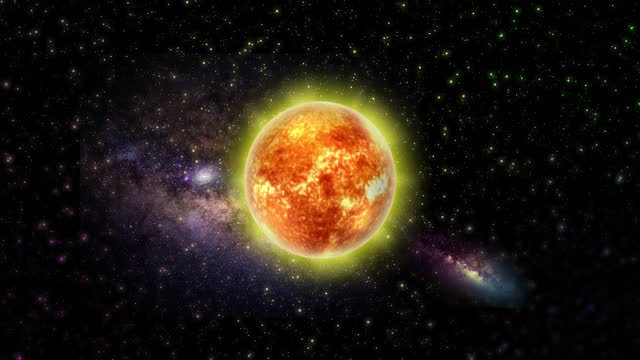Sun in Outer Space. Planet. Abstract Backgrounds. Stock Video