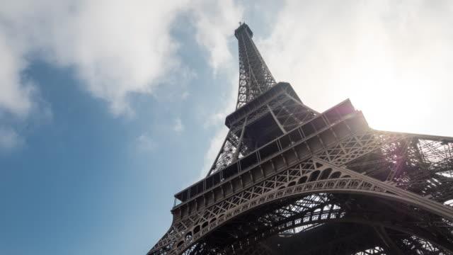 Sun light shining through the Eiffel Tower the sky Blue,Time Lapse, 4K(UHD)