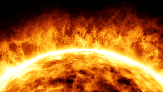 Sun planet Sun planet in space concept. Heat flames and dramatic explosions from the sun. Isolated over black background. surface level stock videos & royalty-free footage