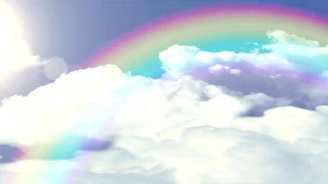 Sun, rain, clouds and rainbow loop. video
