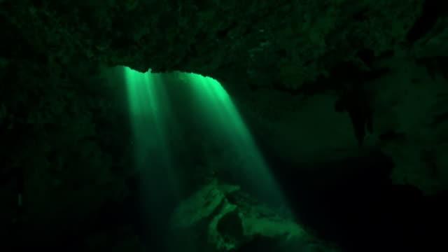 Zonnestralen onder water in ondergrondse hol van Yucatan Mexico cenotes. video