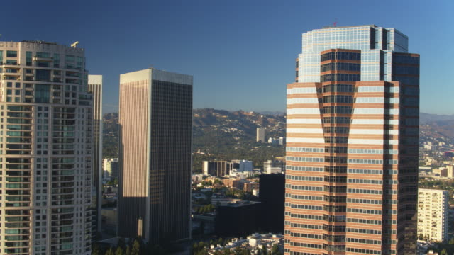 Sun Reflecting on Skyscrapers in Century City, Los Angeles - Drone Shot video
