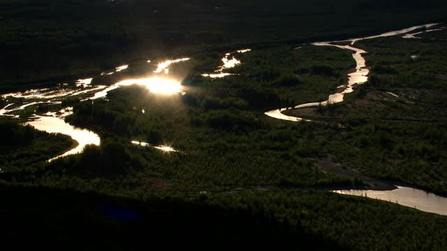 Sun reflects of streams in Alaskan wilderness video