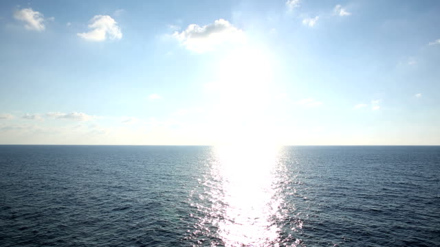 Sun rises above Mediterranean Sea, ship view video