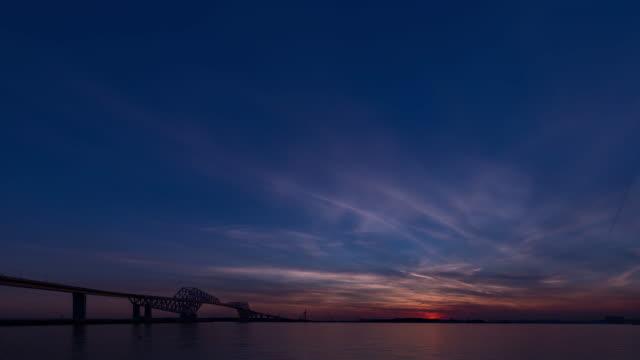 (東京ゲート ブリッジ照明) 東京湾に沈む夕日 ビデオ