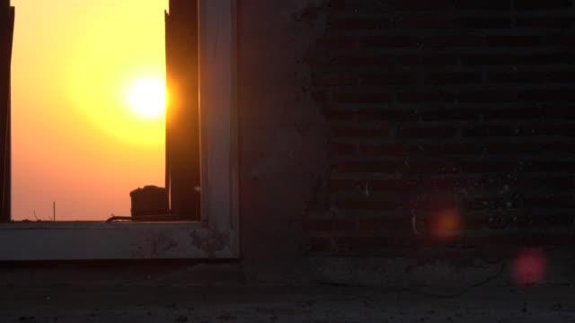 Video Sun Set Shine From Old Window
