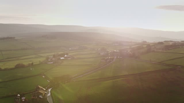 Sun Setting Over English Countryside - Aerial View