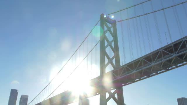 Sun shining behind the Bay Bridge