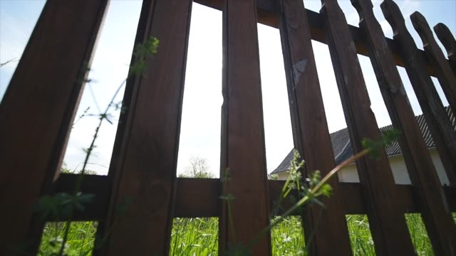 vídeos de stock e filmes b-roll de sun shining through a new wooden fence around backyard dolly shot - cercado
