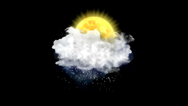 Sun Snow, Weather Forecast Icon Weather Forecast Icon on black background. meteorology stock videos & royalty-free footage
