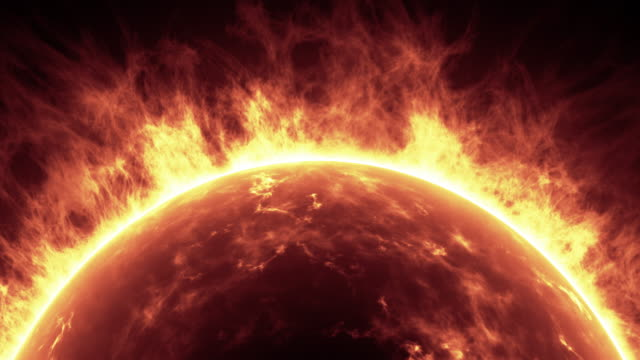 Sun surface with solar flares. Abstract scientific background. Video of Sun surface with solar flares. Abstract scientific background. (4K) surface level stock videos & royalty-free footage