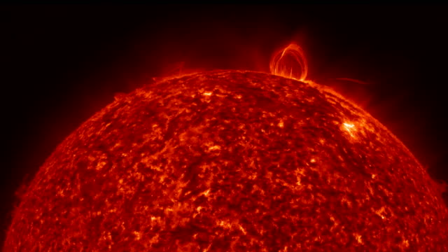 Sun surface with solar flares. Abstract scientific background video