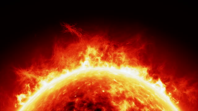 sun surface/solar atmosphere horizontal loop - flare video stock e b–roll