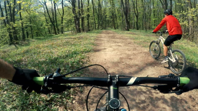 Sunday cycling routine Shot taken from POV while riding MTB following a bumpy trail in the woods. handlebar stock videos & royalty-free footage