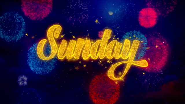 niedziela powitanie tekst sparkle cząstki na kolorowe fajerwerki - happy holidays filmów i materiałów b-roll