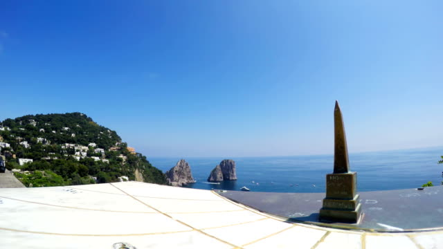 Sundial with world famous Capri sea stacks on the background, Campania, Italy