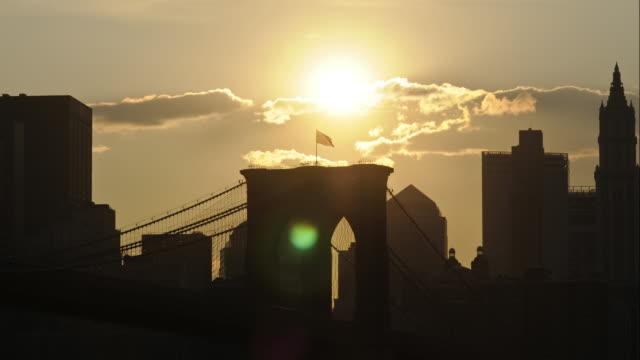 Sundown over Brooklyn Bridge video